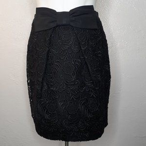 RIVER ISLAND Black Lace Eyelet Cinched Skirt Sz:8